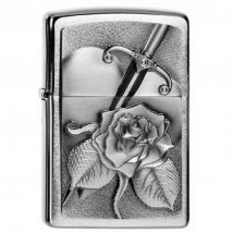 Zippo chrom gebürstet Heart with Rose