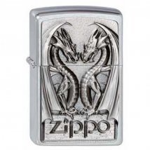Zippo chrom gebürstet Twins Dragon Heart