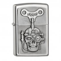 Zippo satiniert Emblem Mechanically Skull
