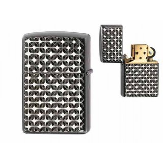 Zippo Black Ice Engine Turn Star